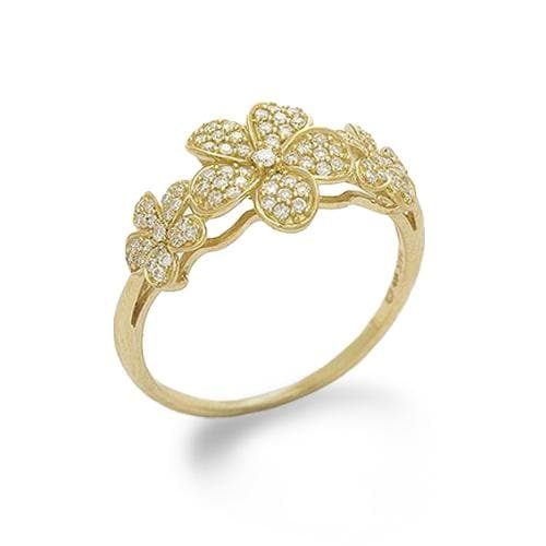 Plumeria Pave (10mm) Ring in 14K Yellow Gold with Diamonds-100-01724