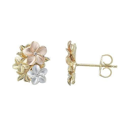 Plumeria Earrings with Diamonds in 14K Tri-Color Gold 100-01732