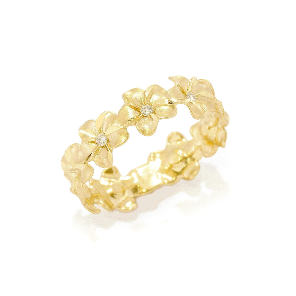 Plumeria Eternity Ring in Gold with Diamonds- 6mm-[SKU]