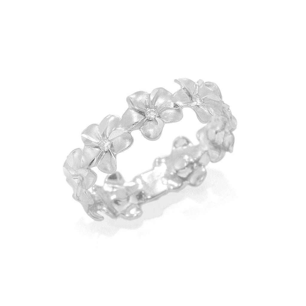 Plumeria Eternity Ring in White Gold with Diamonds - 6mm - Maui Divers Jewelry