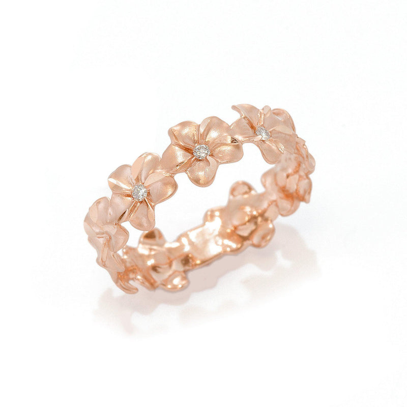 Plumeria Eternity Ring in Rose Gold with Diamonds - 6mm-[SKU]