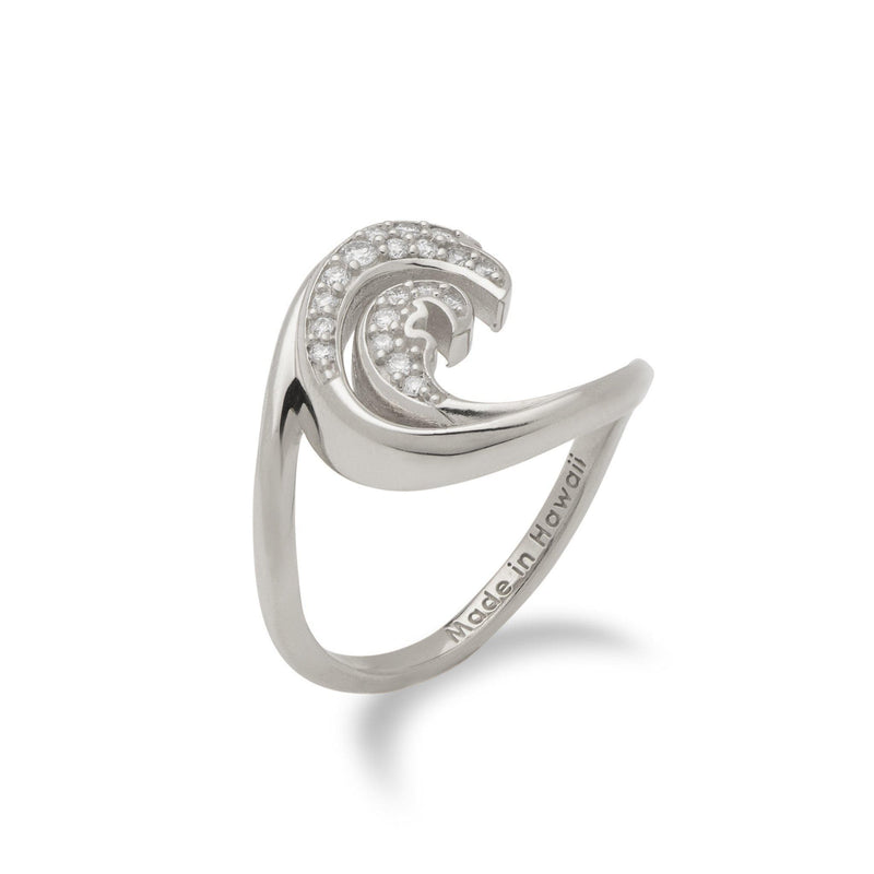 Nalu Ring in White Gold with Diamonds - 15mm - Maui Divers Jewelry