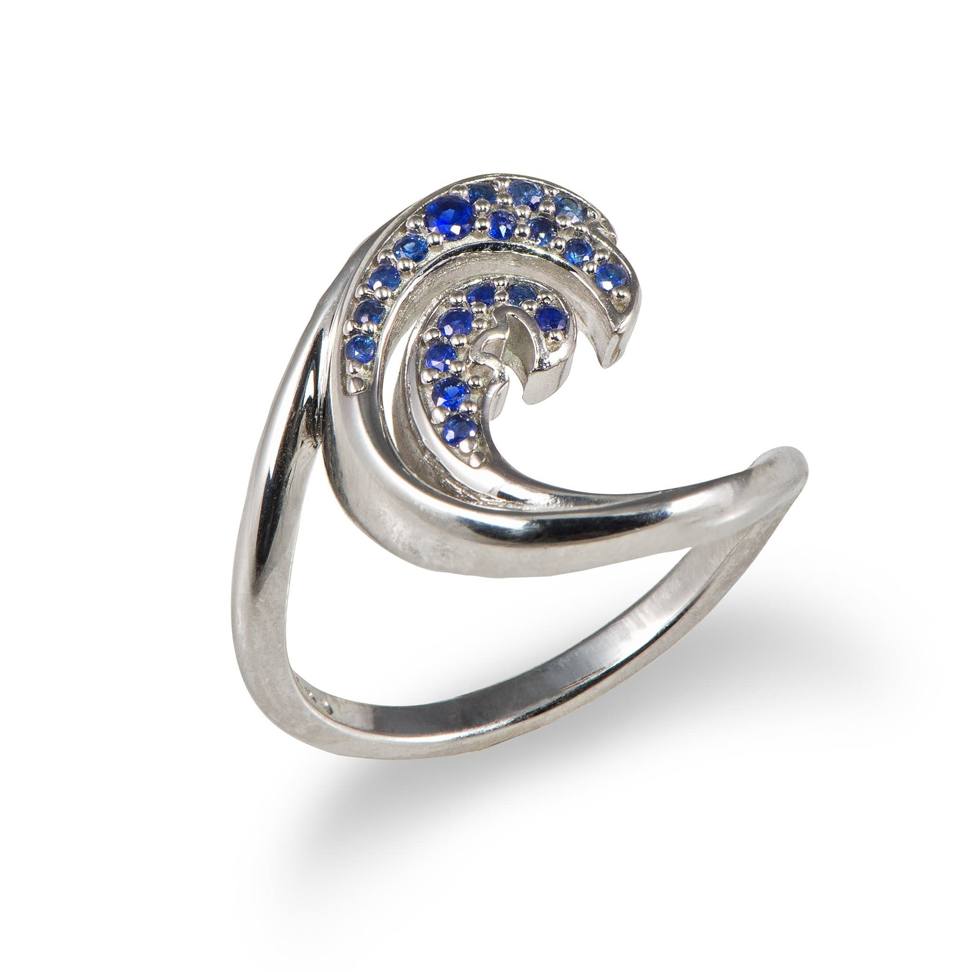Nalu Ring in White Gold with Blue Sapphires - 15mm - Maui Divers Jewelry