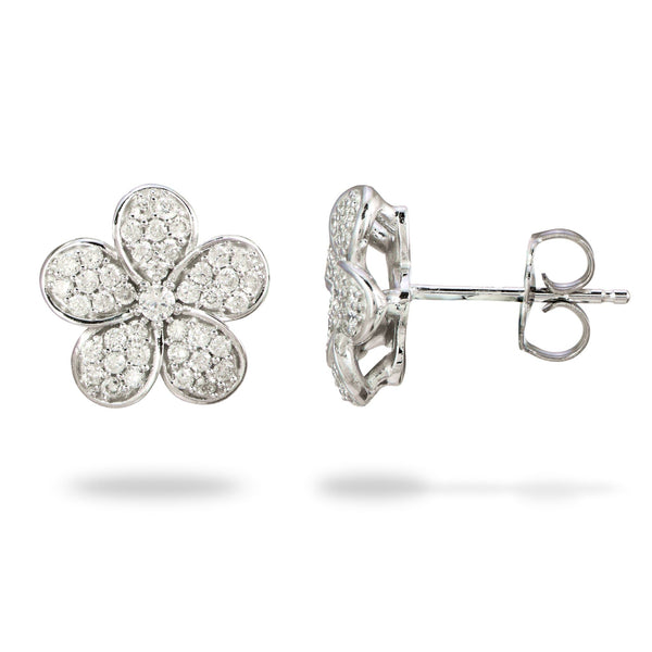 Plumeria Earring with Diamond in 14K White Gold - 11mm - Maui Divers Jewelry