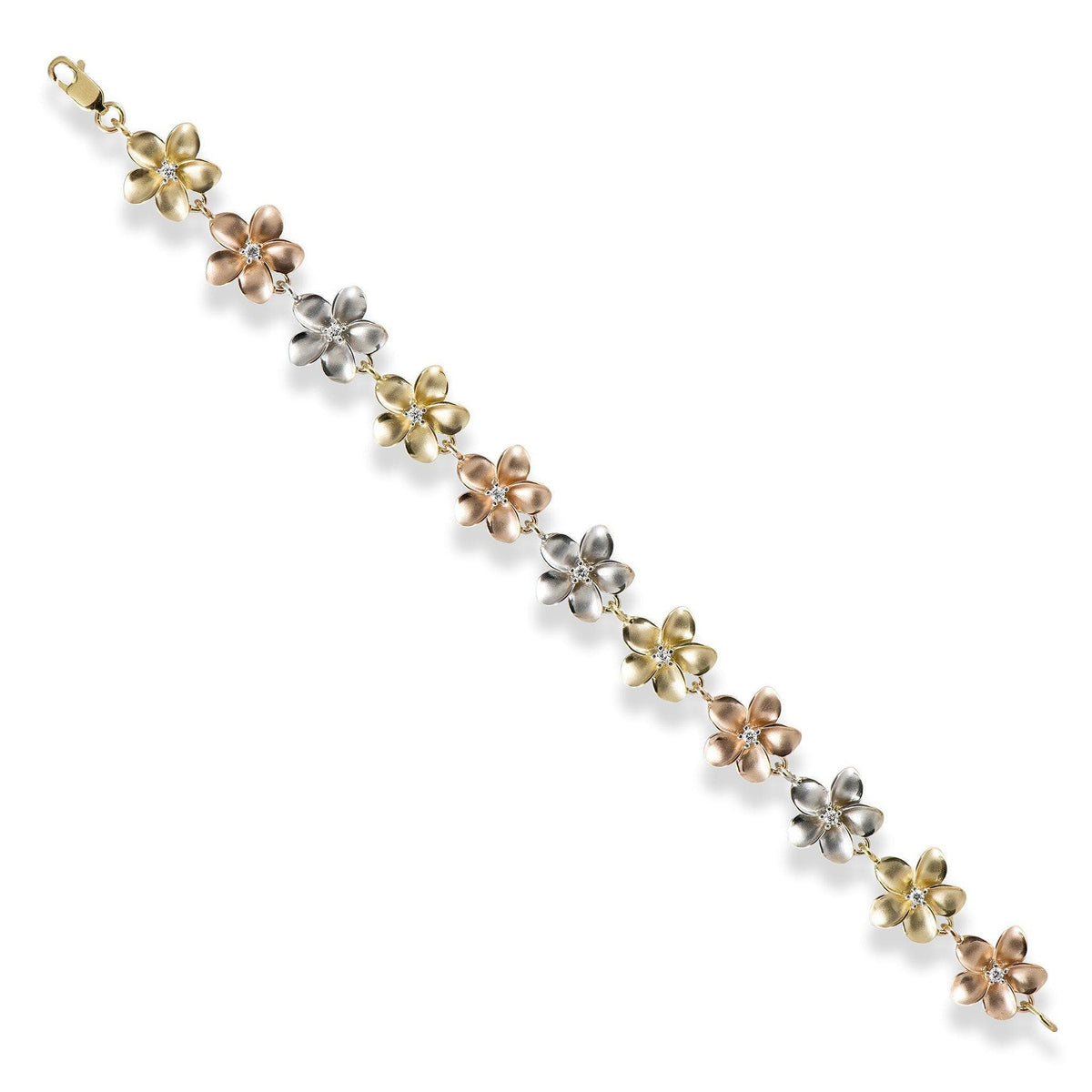 Plumeria Bracelet with Diamonds in 14K Yellow, Rose and White Gold - 7.25""