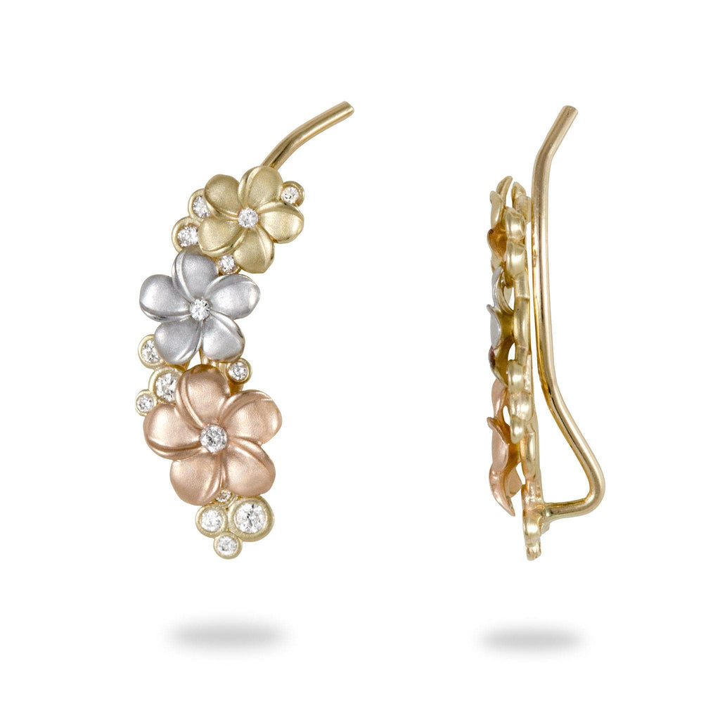 Plumeria Earrings in Tri Color Gold with Diamonds - 20mm-[SKU]