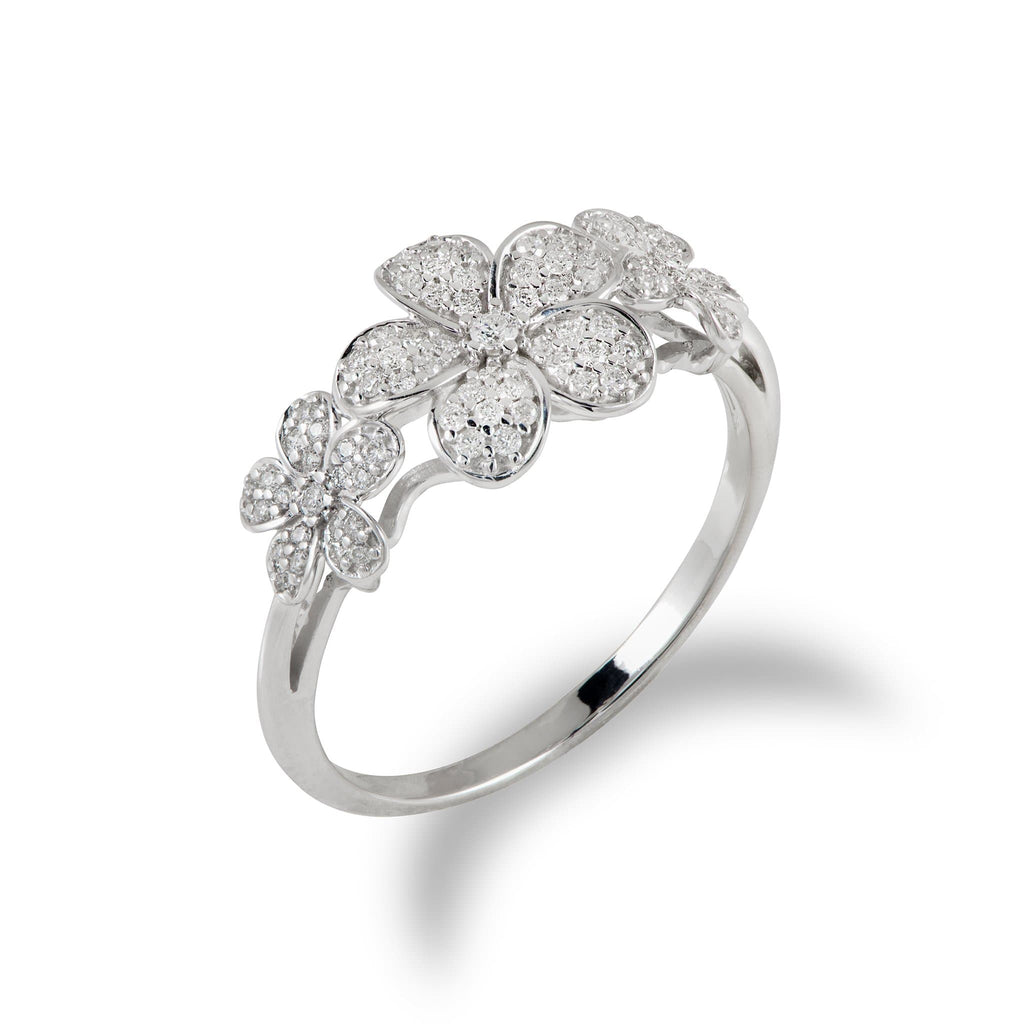 Plumeria Ring in 14K White Gold with Diamonds - Maui Divers Jewelry