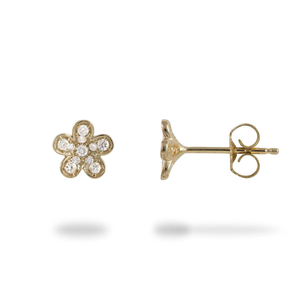 Plumeria Earrings with Diamonds in 14K Yellow Gold - 7mm - Maui Divers Jewelry