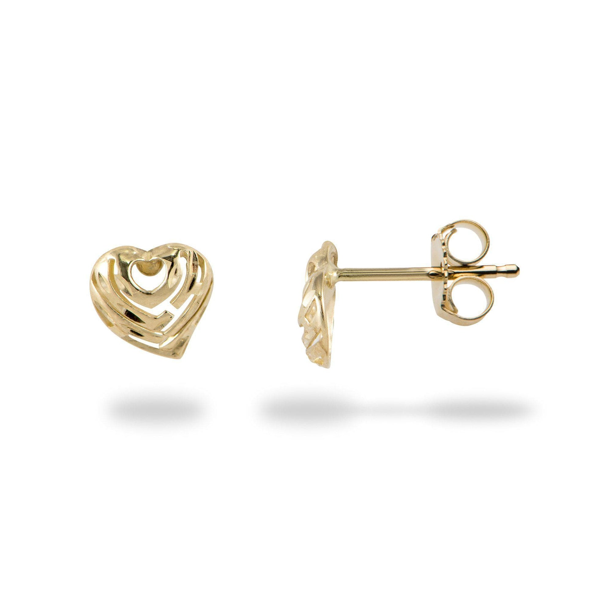 Aloha Heart Earrings in Gold - 7mm-[SKU]