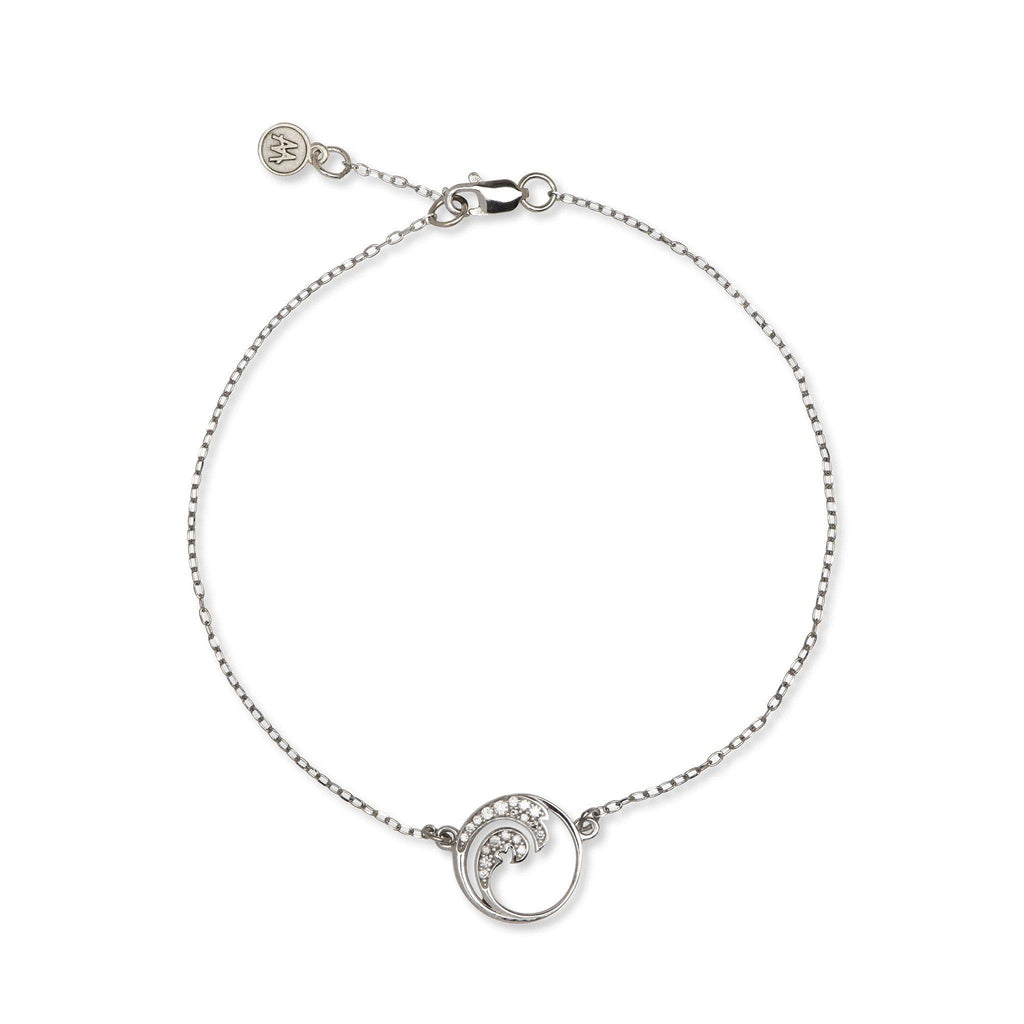 14k white gold wave bracelet