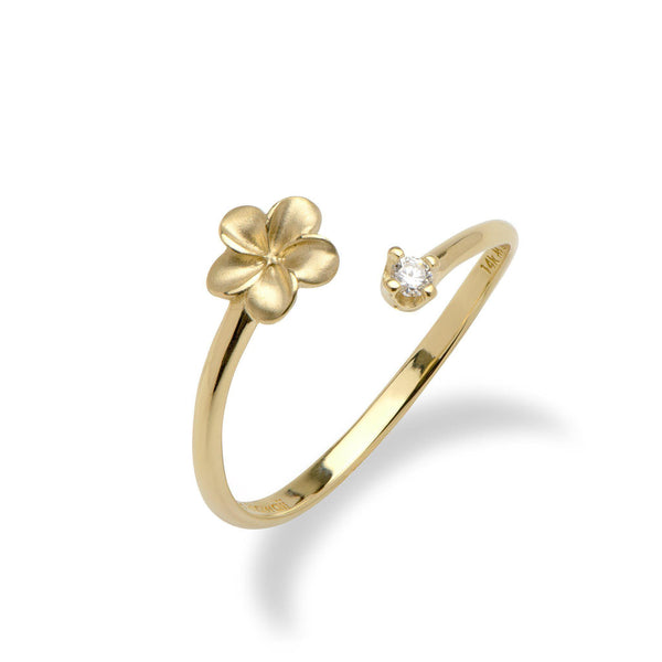 Plumeria Ring in Gold with Diamond - 6mm-Maui Divers Jewelry