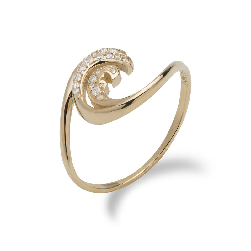 Nalu Ring in Gold with Diamonds - 12mm-Maui Divers Jewelry