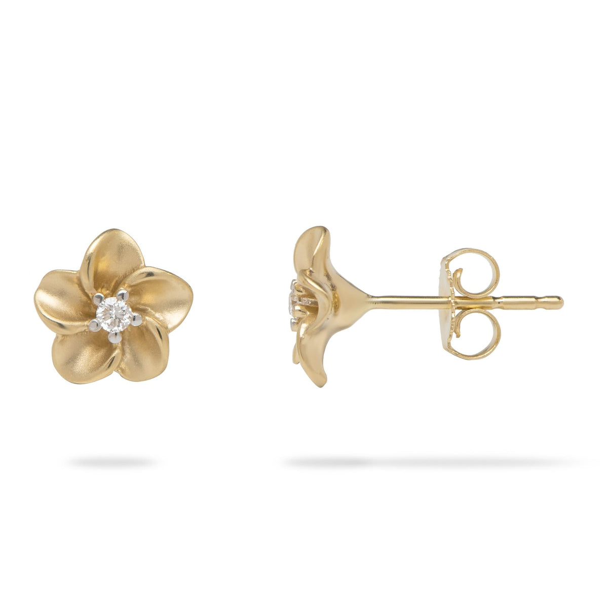 Plumeria Earrings with Diamonds in 14K Yellow Gold - Maui Divers Jewelry