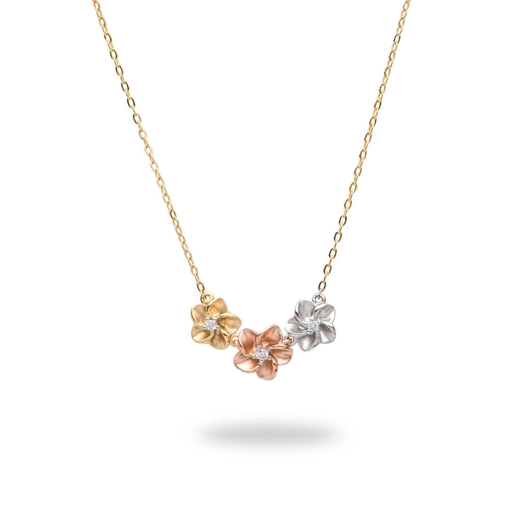 Plumeria Pendant in Tri Color Gold with Diamonds-[SKU]