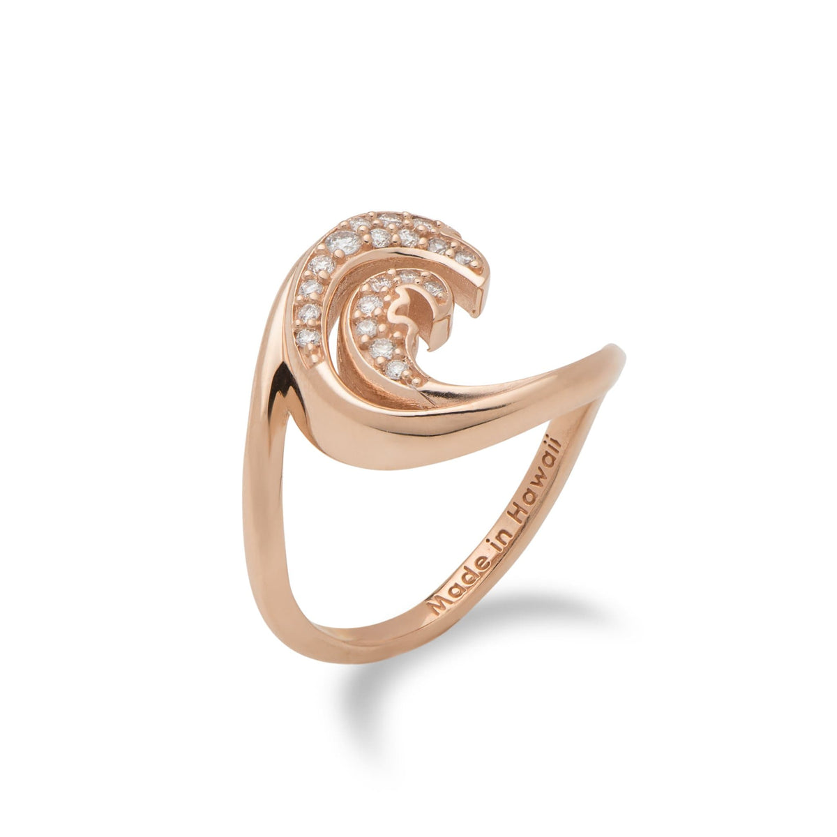 Nalu (Wave) Ring in 14 Rose Gold with Diamonds-100-01840