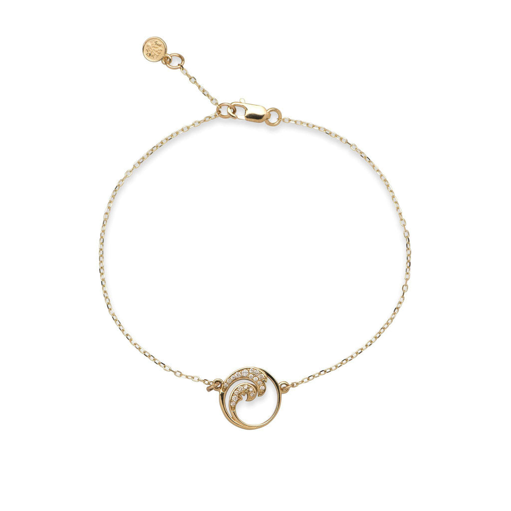Nalu (Wave) Bracelet in 14K Yellow Gold with Diamonds  100-01844