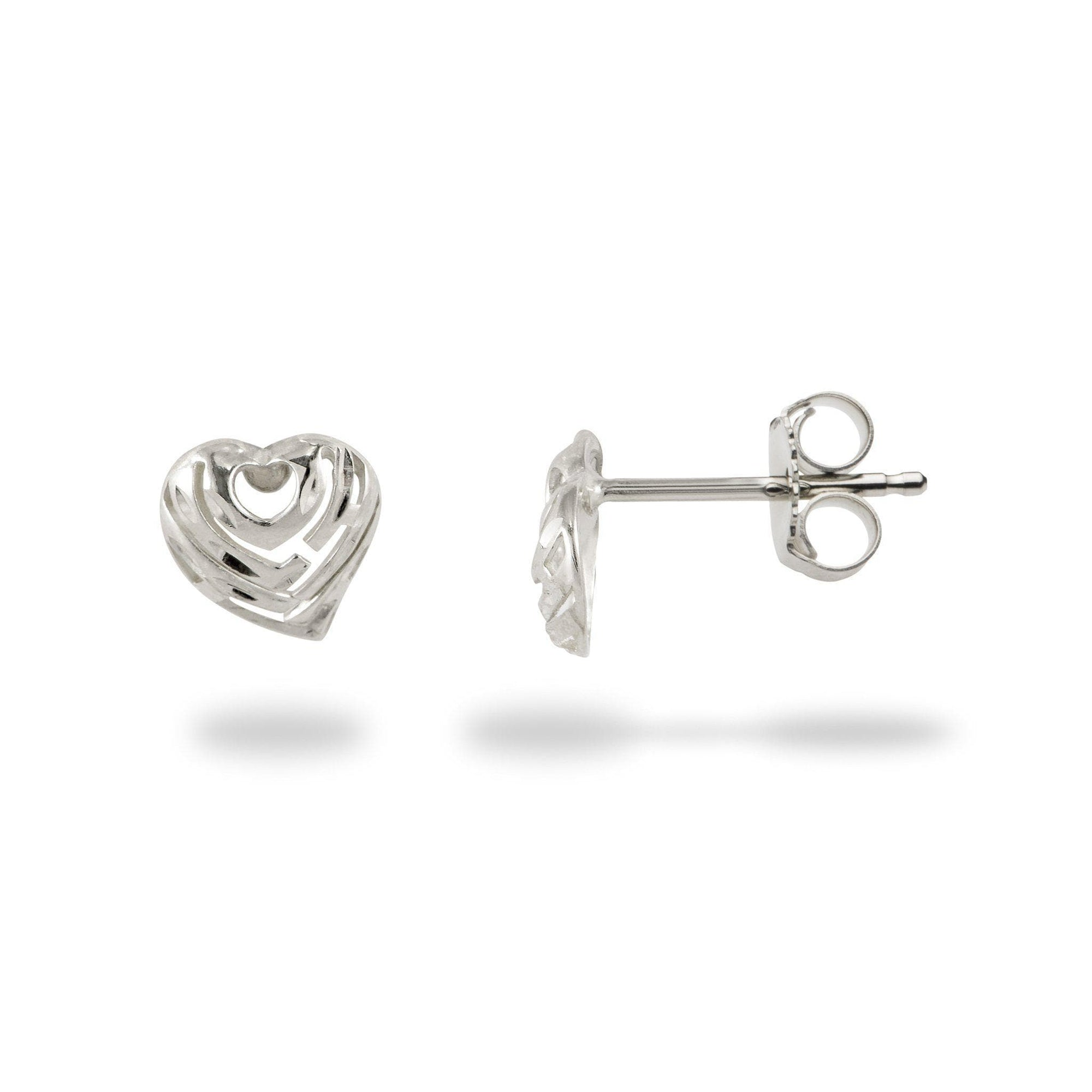 Aloha Heart Earrings in White Gold - 7mm-[SKU]