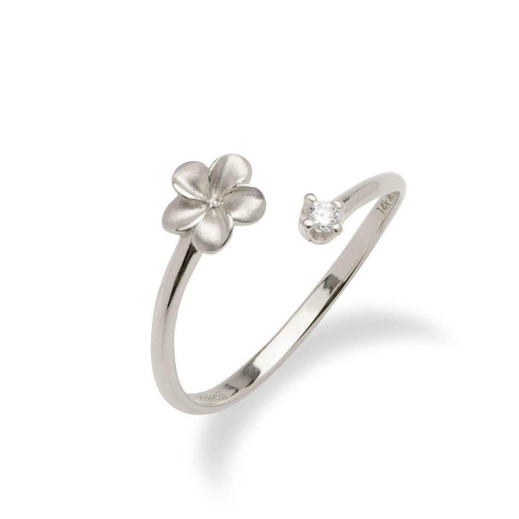 Plumeria Bypass Ring with Diamond in 14K White Gold - Maui Divers Jewelry