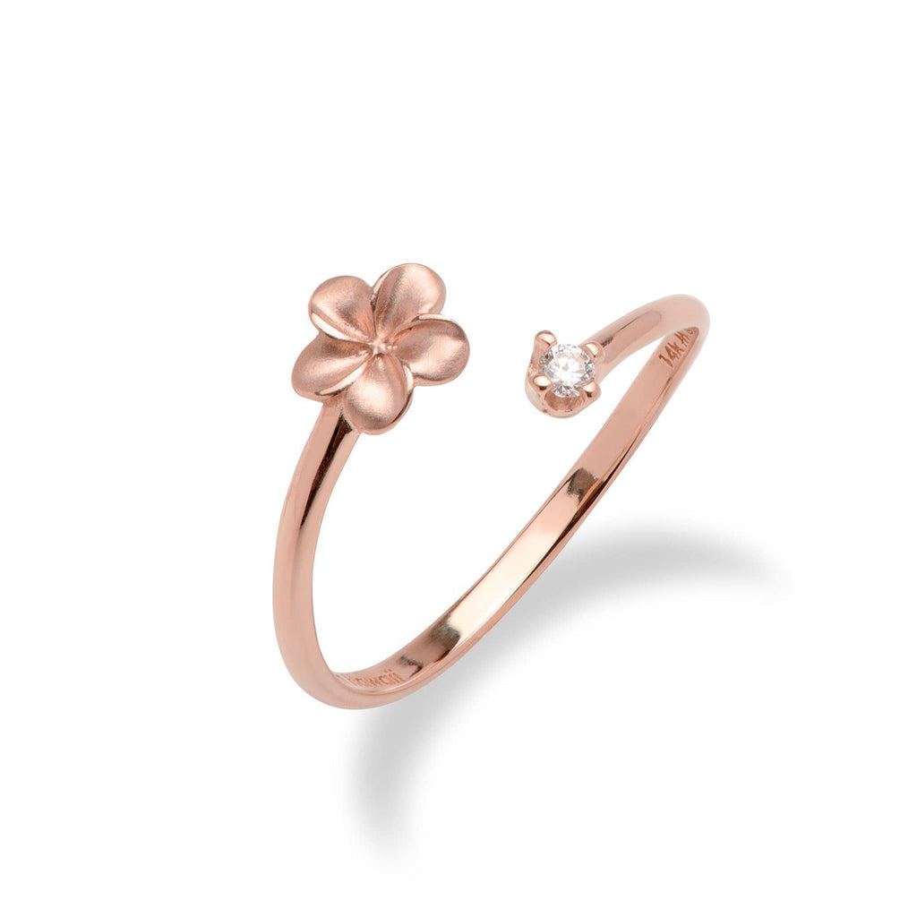 Plumeria Bypass Ring with Diamond in 14K Rose Gold - Maui Divers Jewelry