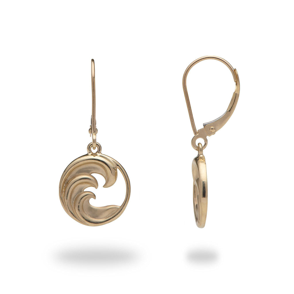 Nalu (Wave) Earrings in 14K Yellow Gold 100-01863