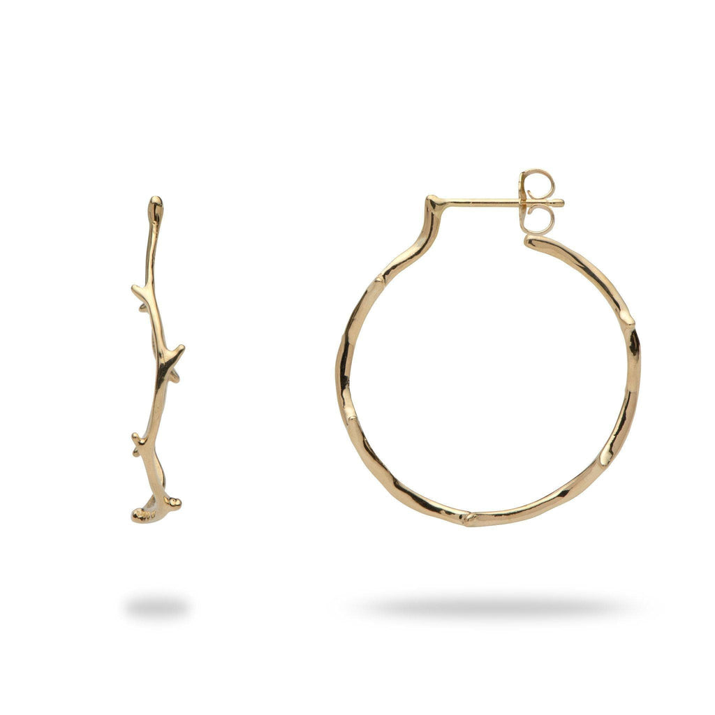 Coral branch gold hoop earrings