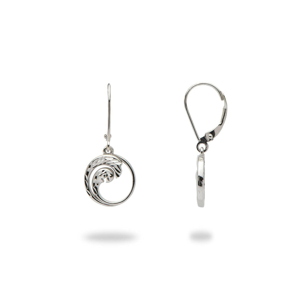 Nalu (Wave) Earrings in 14K White Gold 100-01869