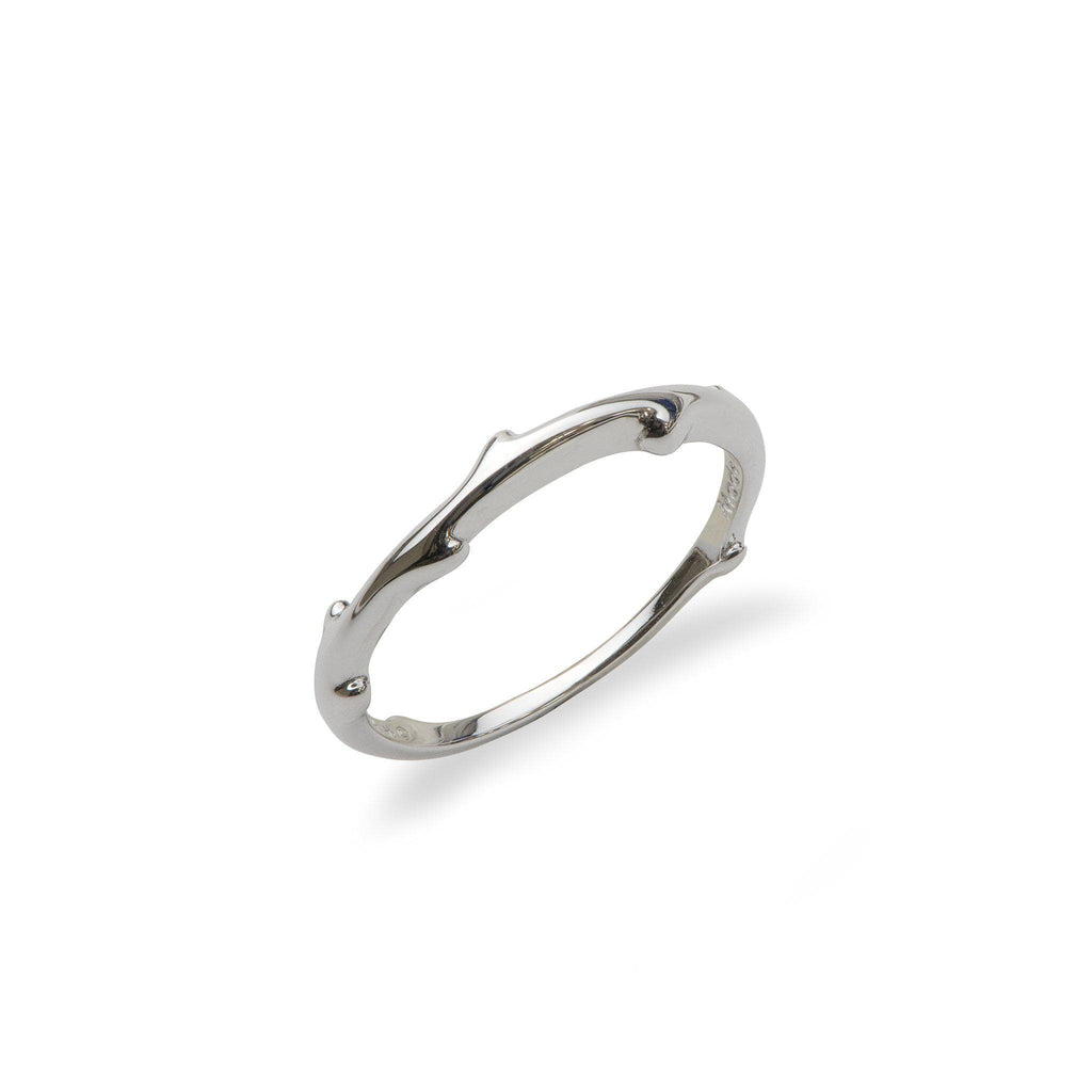 Hawaiian Heritage Bypass Ring in 14K White Gold (Stackable)-100-01878