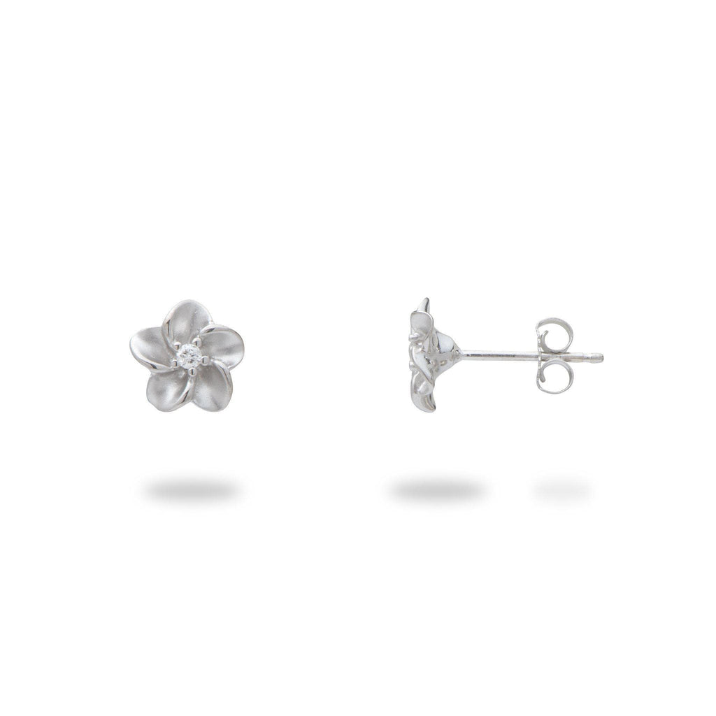 Plumeria Earrings 14K White Gold Earrings with Diamonds 100-01886