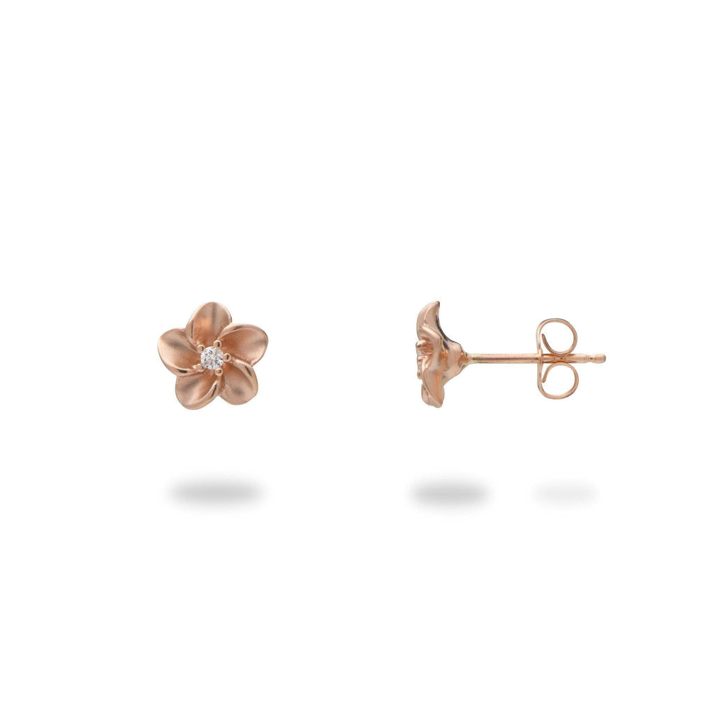 Plumeria Earrings 14K Rose Gold Earrings with Diamonds 100-01887