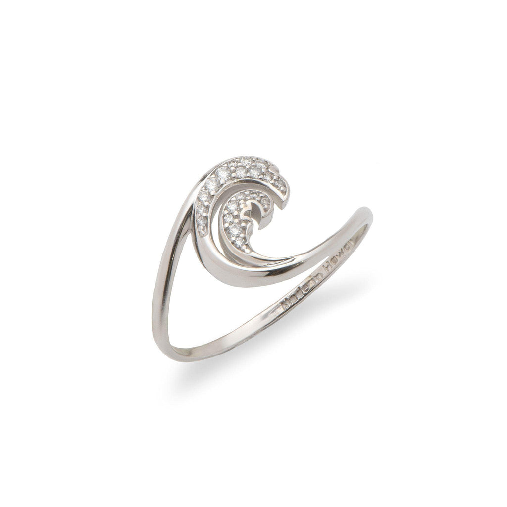 Nalu (Wave) Ring in 14 White Gold-100-01888