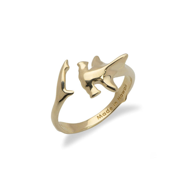 Maui Divers Jewelry HAMMERHEAD SHARK RING IN 14K YELLOW GOLD