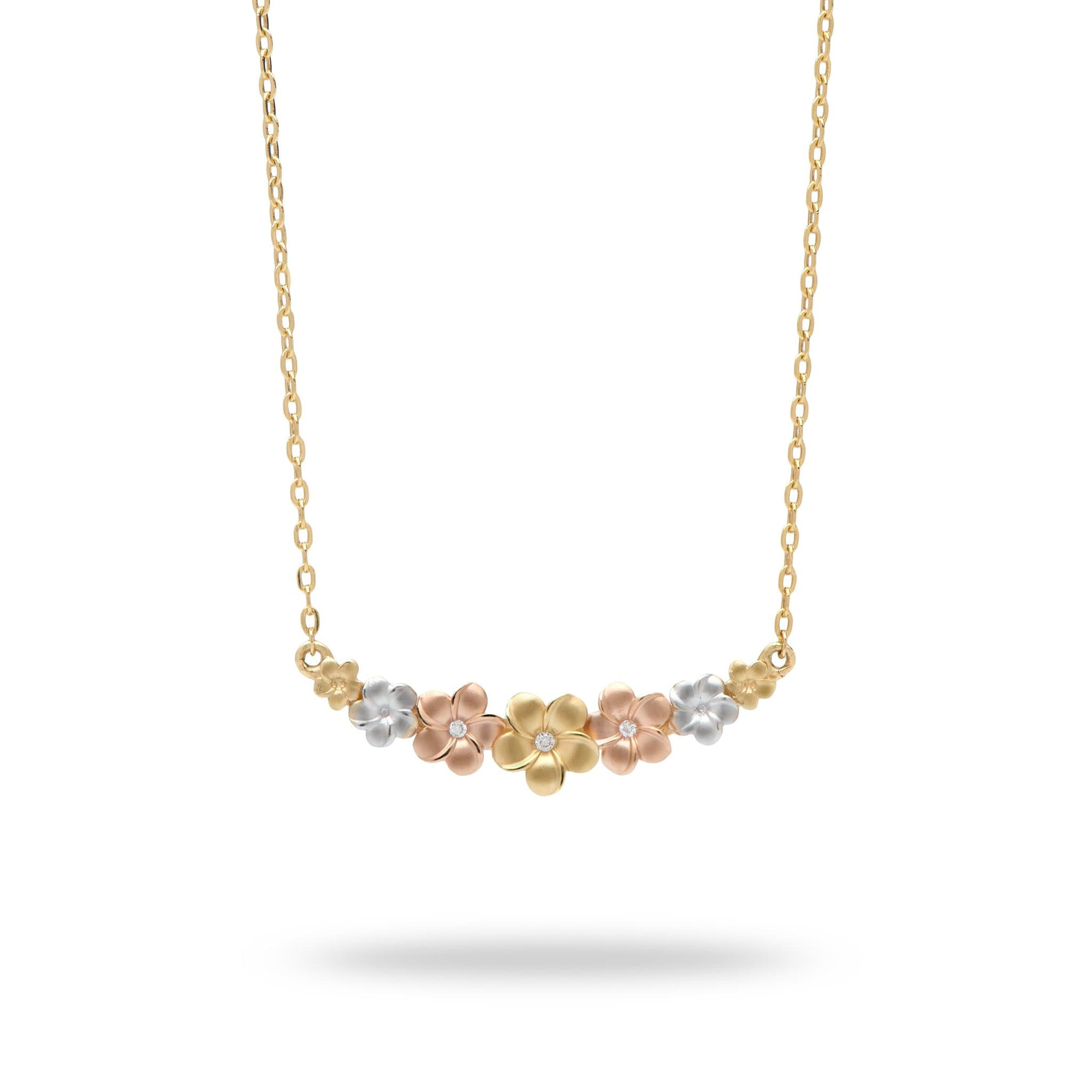 Plumeria Necklace in 14K Tri-Color Gold With Diamonds - Maui Divers Jewelry