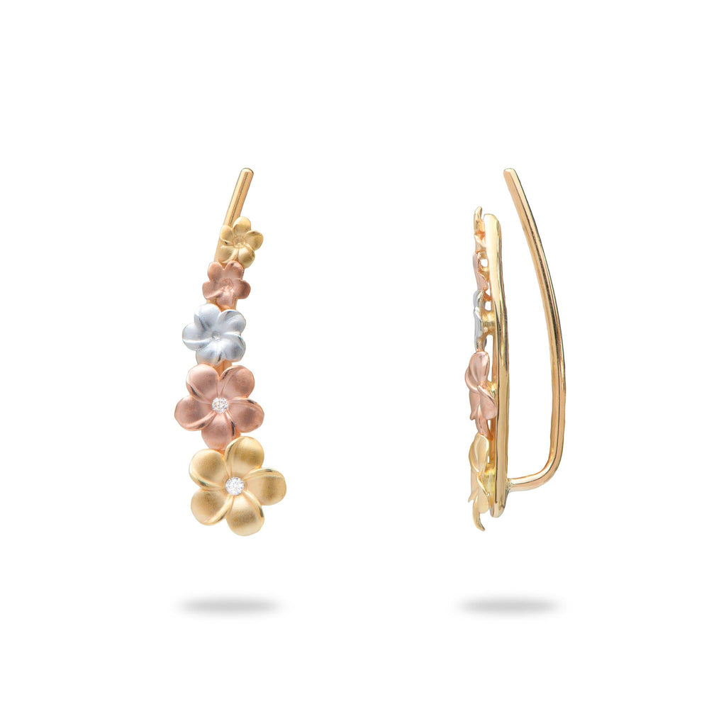 Plumeria Climber Earrings in Tri Color Gold With Diamonds - Maui Divers Jewelry
