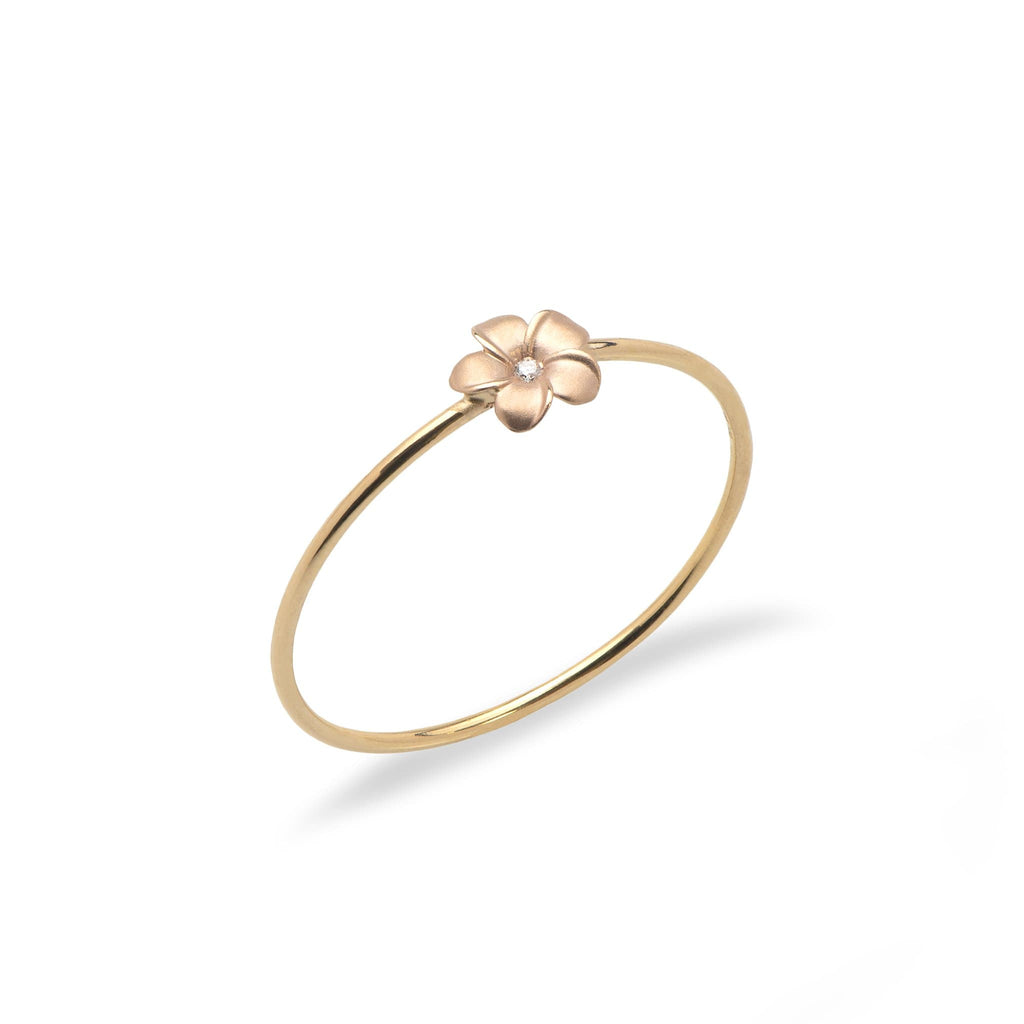 Plumeria Ring in 14K Yellow and Rose Gold with Diamonds - Maui Divers Jewelry