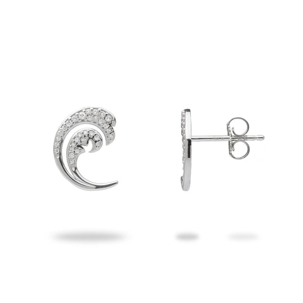 Nalu Earrings in White Gold with Diamonds - 12mm-[SKU]