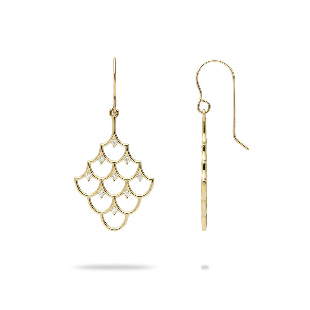 Mermaid Scales (25mm) Earrings in 14K Yellow Gold with Diamonds-[SKU]