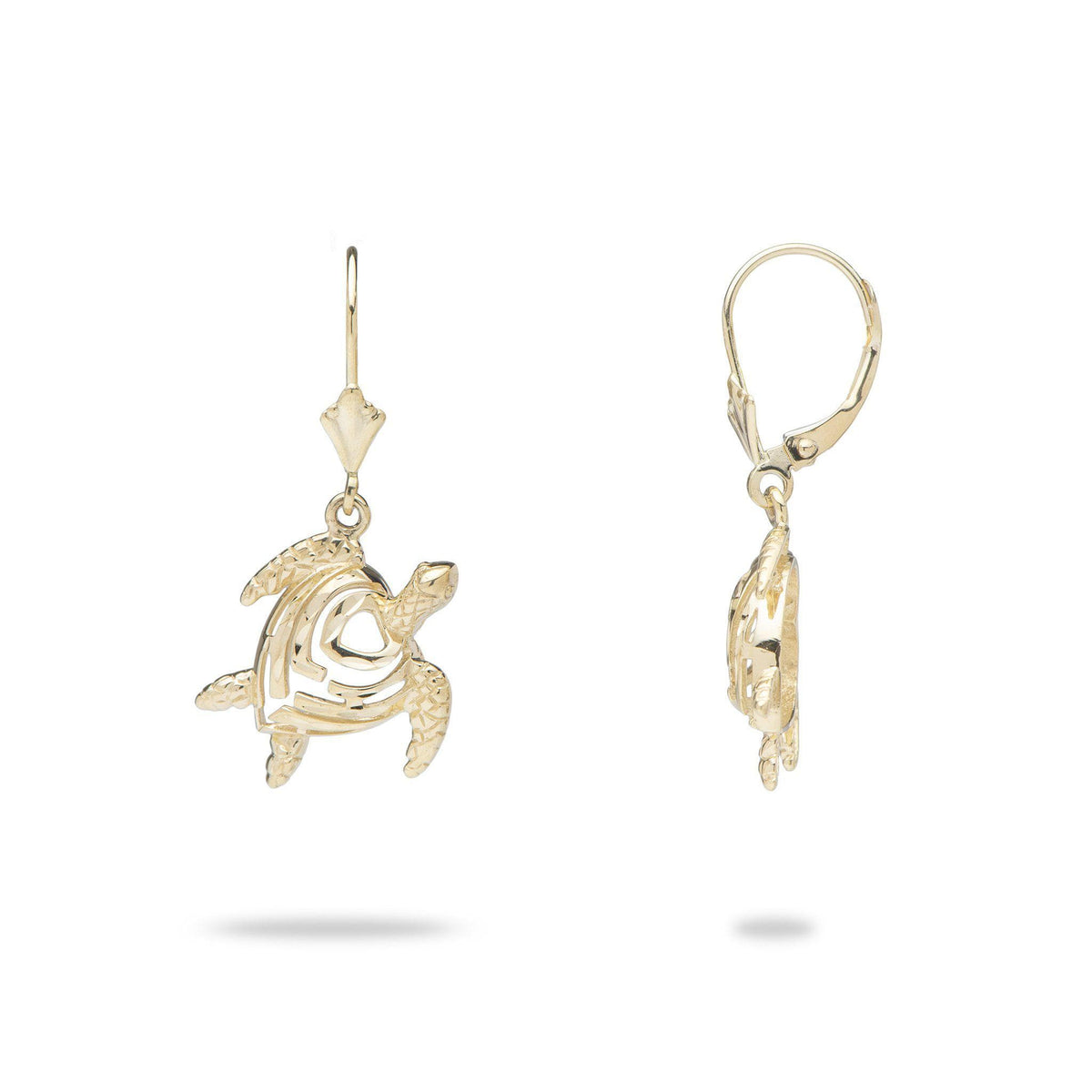 Aloha Heart Honu Turtle Earrings in 14K Yellow Gold