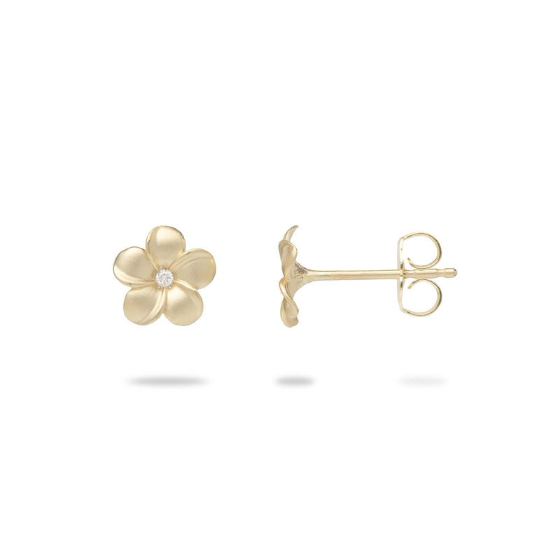 Plumeria Earrings in Gold with Diamonds - 5mm-Maui Divers Jewelry
