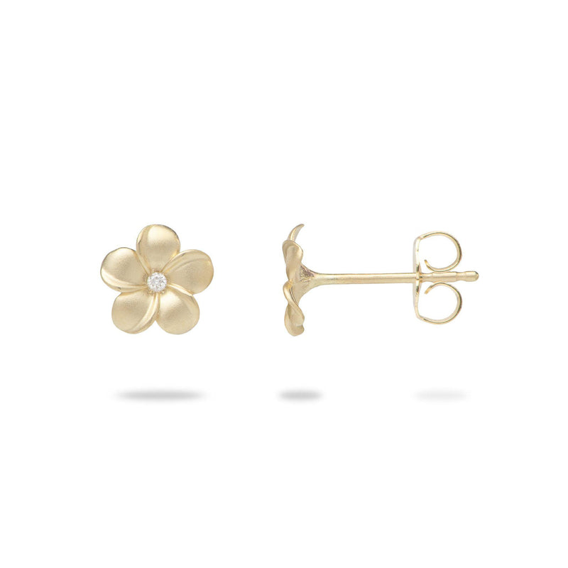 Plumeria Earrings with Diamonds in Gold - 8mm-Maui Divers Jewelry