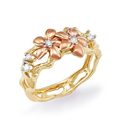 Plumeria Ring in 14K Rose Gold and Yellow Gold with Diamonds