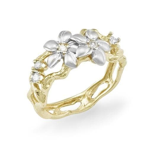 Plumeria Ring with Diamonds in 14K Two-Tone Gold