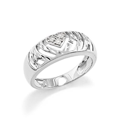Aloha Heart Ring with Diamonds in 14K White Gold - Small