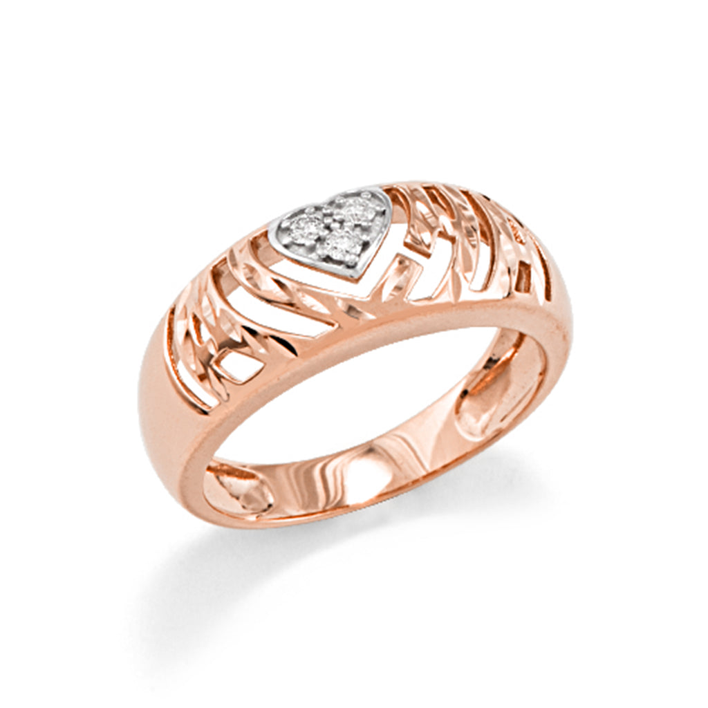 Aloha Heart Ring with Diamonds in 14K Rose Gold - Small
