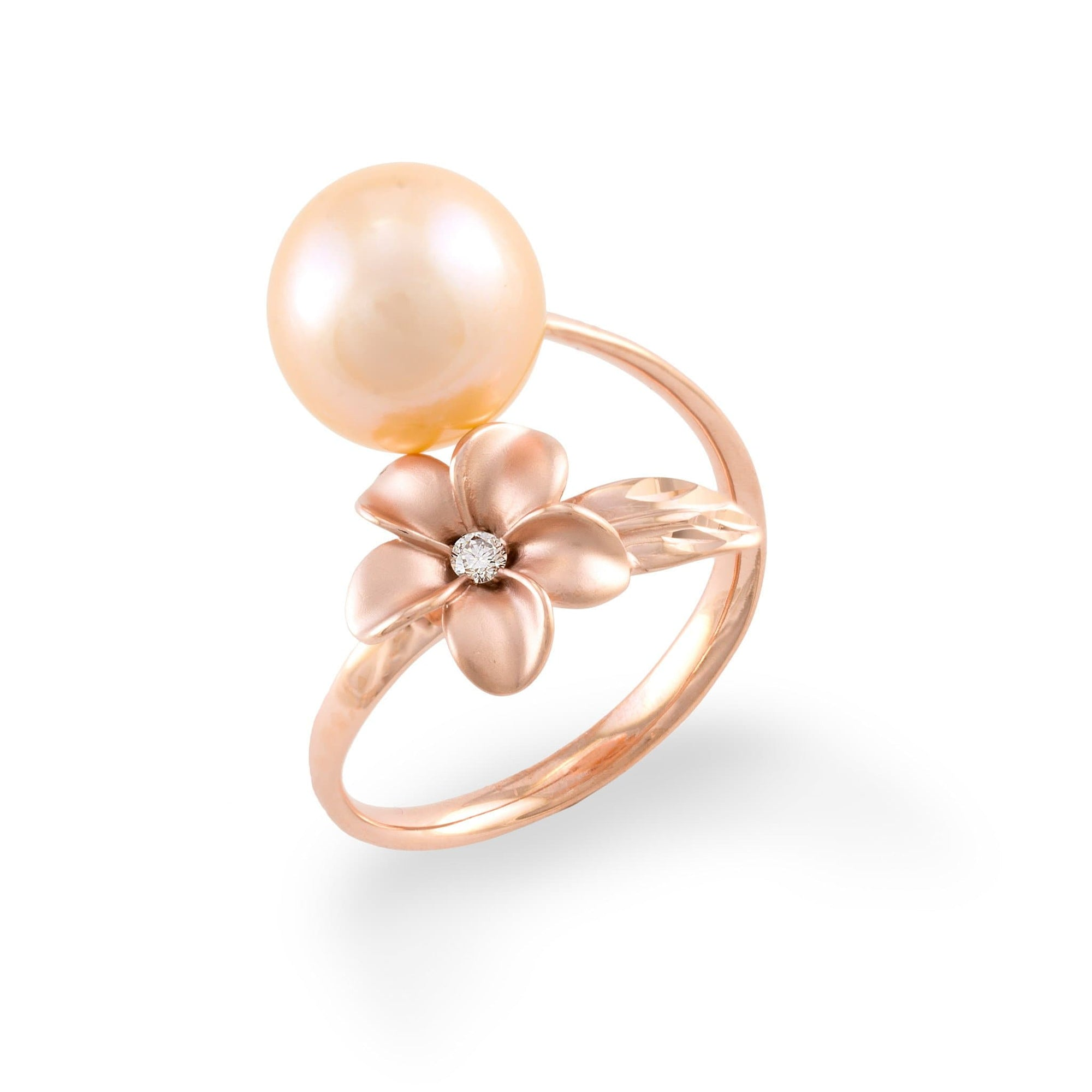 Plumeria Freshwater Pearl Ring with Diamonds in 14K Rose Gold (10-11mm) - Maui Divers Jewelry