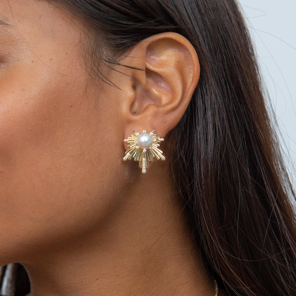 E Ho'āla (Awakening) Earrings with Diamonds in 14K Yellow Gold on Model