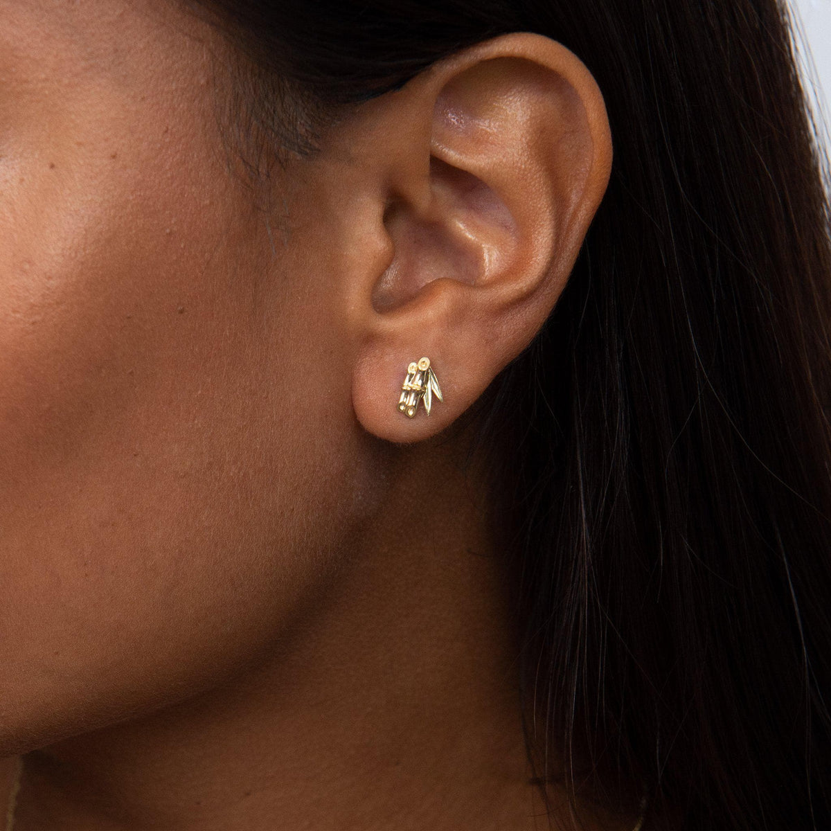 Bamboo Forest Stud Earrings in Two Tone Gold on Model