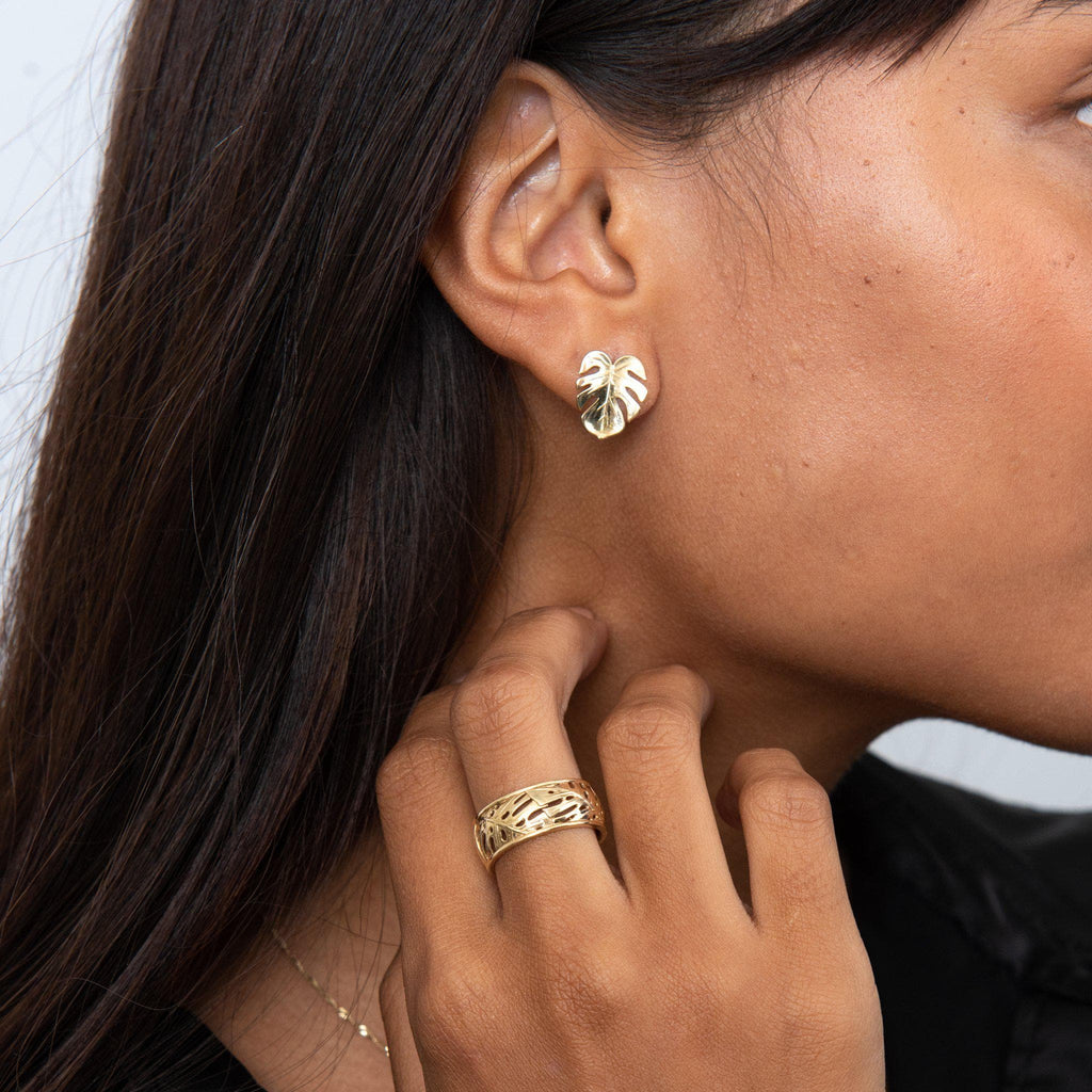 Monstera Earrings in Gold - 15mm on Model