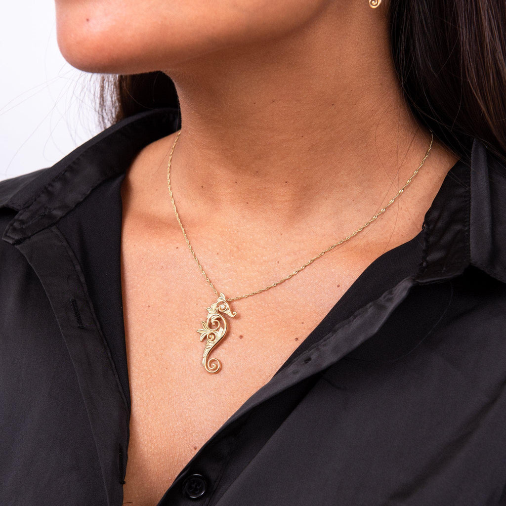 Living Heirloom Seahorse Pendant with Diamonds in 14K Yellow Gold - 35mm on Model