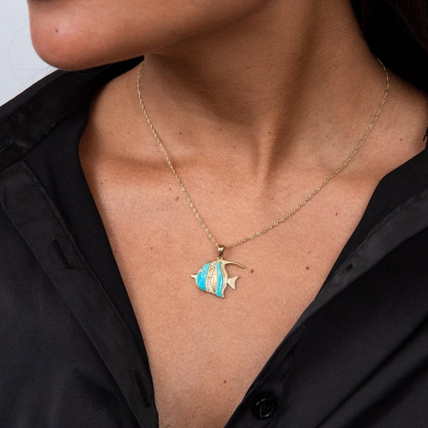 Sealife Angelfish Turquoise Pendant in Gold with Diamonds - 23mm on Model - Maui Divers Jewelry