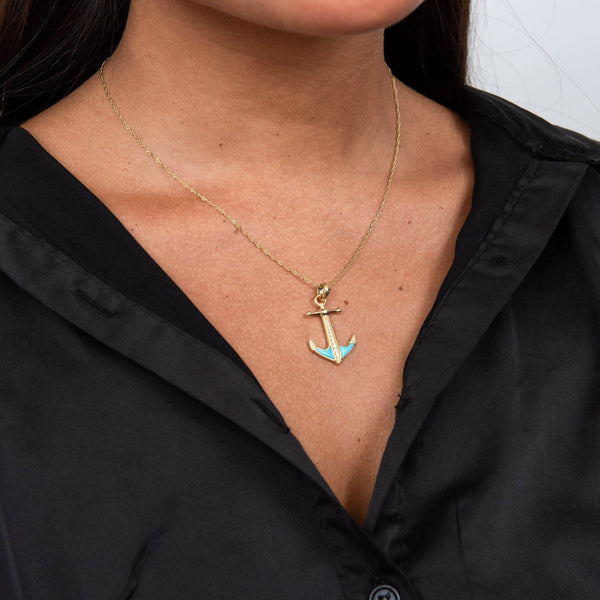 Sealife Anchor Turquoise Pendant in Gold with Diamonds - 28mm  on Model